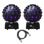 2 x American DJ ADJ Starburst 75W HEX LED Mirror Ball Rotating Light + DMX Lead